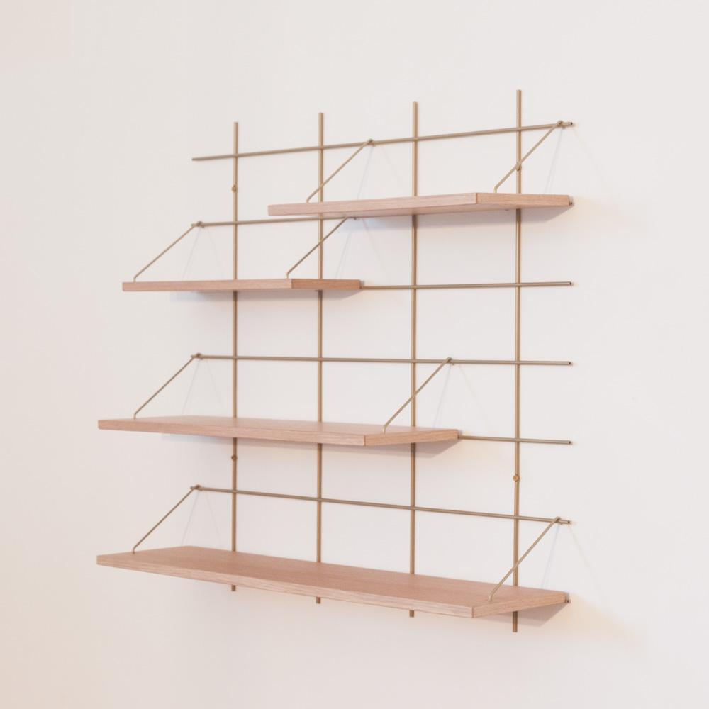 étagère Gassien Paris compo 13 1 base laiton 4 planches chêne massif profondeur moyenne 20cm 15cm vue de profil