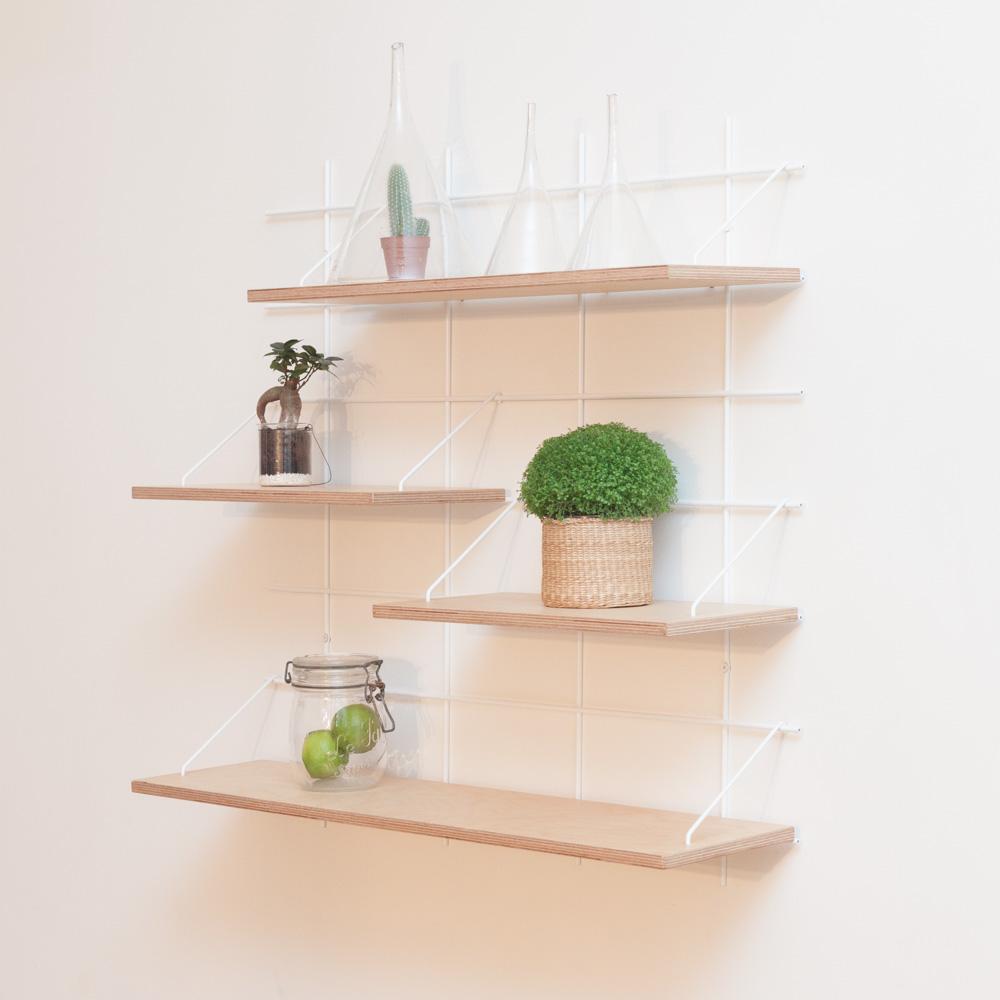 étagère Gassien Paris compo 29 1 base blanche 4 planches contreplaqué bouleau moyenne profondeur 20cm vue de profil plantes vertes green cuisine vert