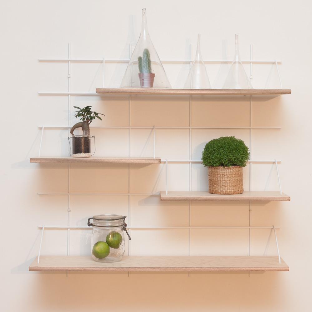 étagère Gassien Paris compo 29 1 base blanche 4 planches contreplaqué bouleau moyenne profondeur 20cm vue de face plantes vertes green cuisine vert