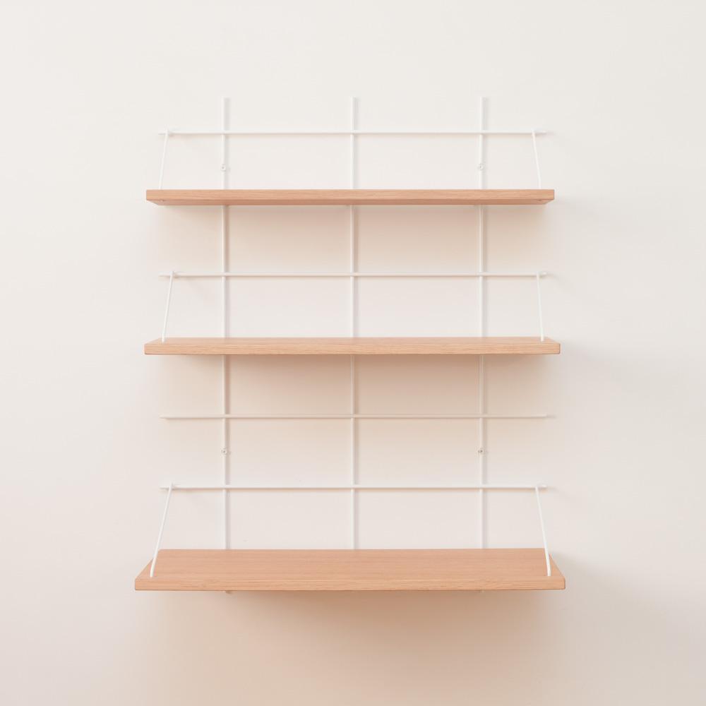 étagère Gassien Paris compo 53 1 base blanche 3 planches chêne diverses profondeurs 15cm 20cm 30cm vue de face