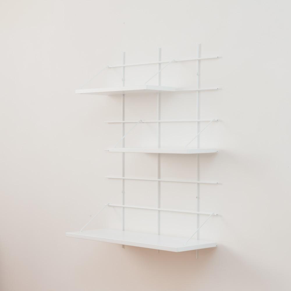 étagère Gassien Paris config 3 Inès 1 base blanche 3 planches laquées blanches faibles profondeurs 15cm 20cm vue de profil